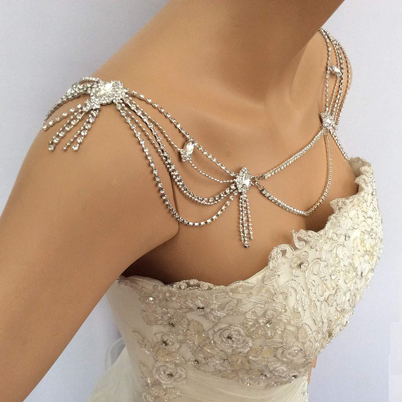 Wedding Rhinestone Crystal Bride Shoulder Necklace Chain Jewelry