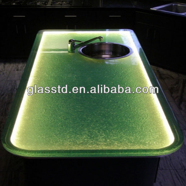solid surface glass top wooden base dining table