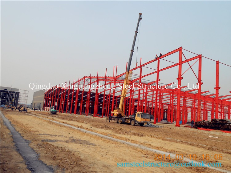 Preengineer steel structural warehouse shed plan with crane