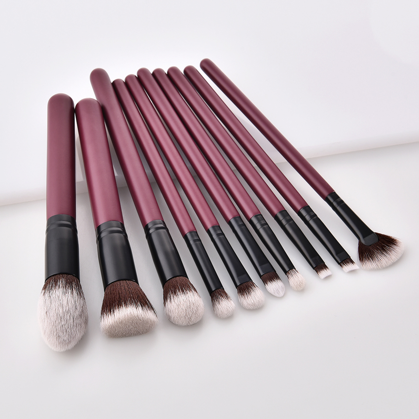 High quality  10pcs beautiful color Jujube red custom make up brush set make up brush set cosmetic with PVC bag