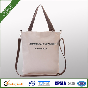 Wholesale canvas tote bags leather handles shopping bag