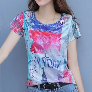 Fashionable short-sleeved printed T-shirt, women's wear Europe station Hong Kong flavor top ins super popular European goods