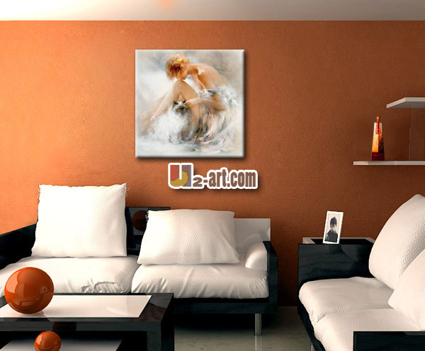 Canvas Painting Art Beautiful Girl Oil Painting For Bedroom Wall ...