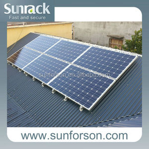 mounting structure for waved shape tin roof solar energy system