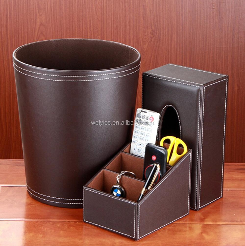 luxury office desk accessories. Factory Wholesale Luxury Office Faux Leather Desk Sets - Organizer/Tissue Box/Trash Accessories E