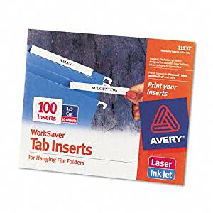 Avery : Laser/Inkjet Hanging File Folder Inserts, 1/3 Tab, 3 1/2in, White, 100/Pack -:- Sold as 2 Packs of - 100 - / - Total of 200 Each