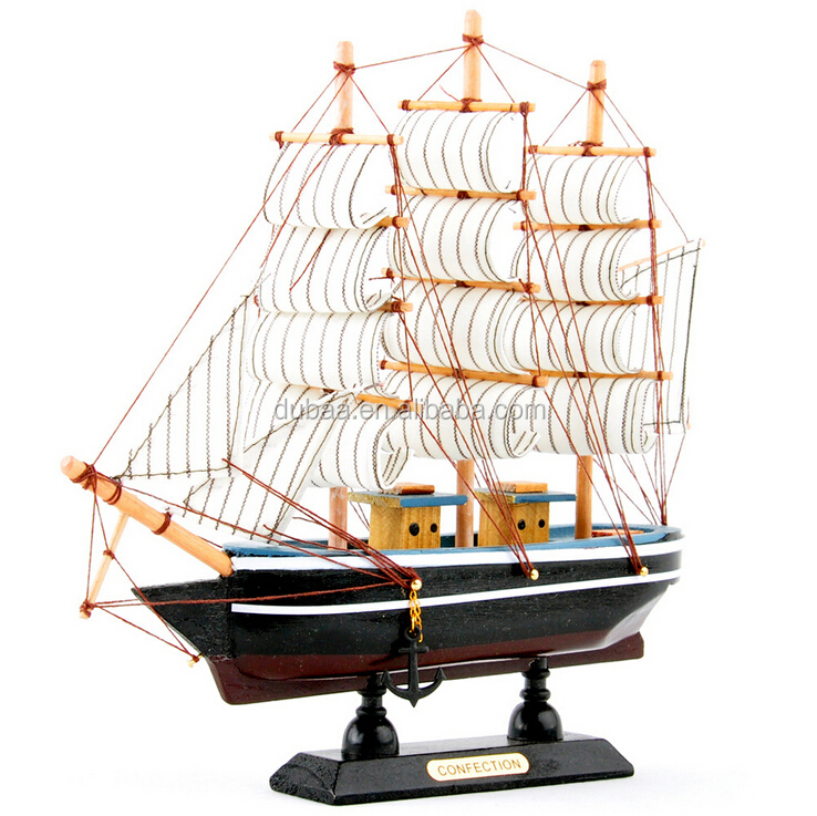 2pc Wooden Sailing Boat Ship Model Decor Collection 6 Tones
