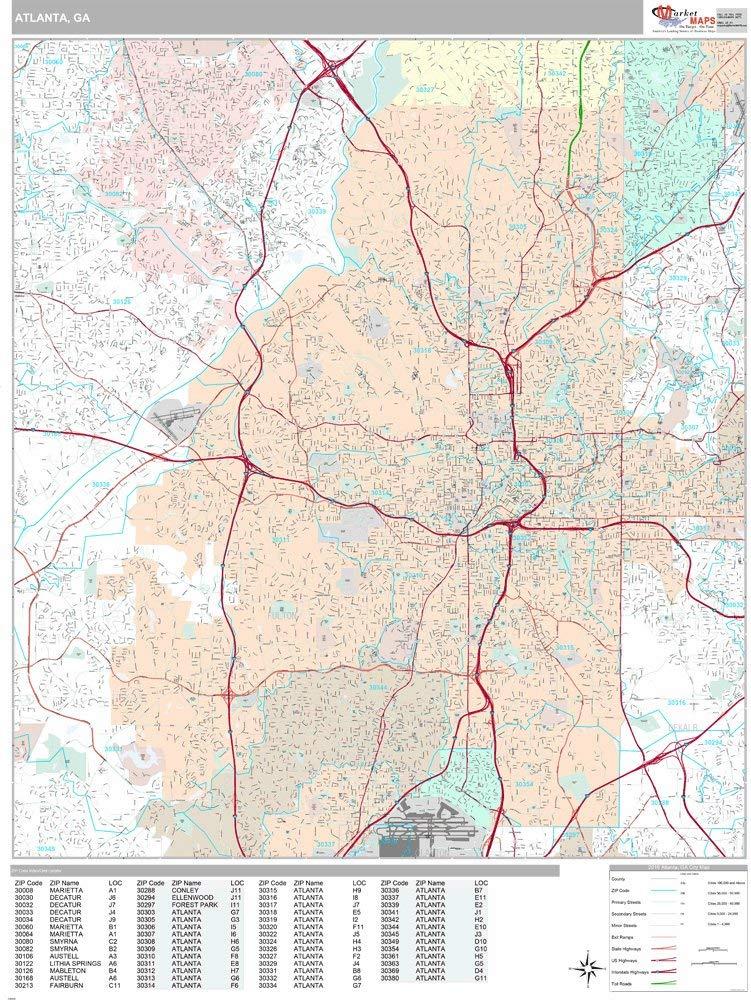 Buy Zip Code Wall Map Of Atlanta Ga Zip Code Map Laminated In Cheap