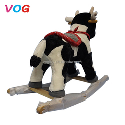 Commercial park kids cartoon style large riding toy plush bouncing rocking horse