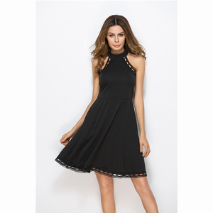 Summer black lace sleeveless dinner dresses party wear sexy dresses women lady