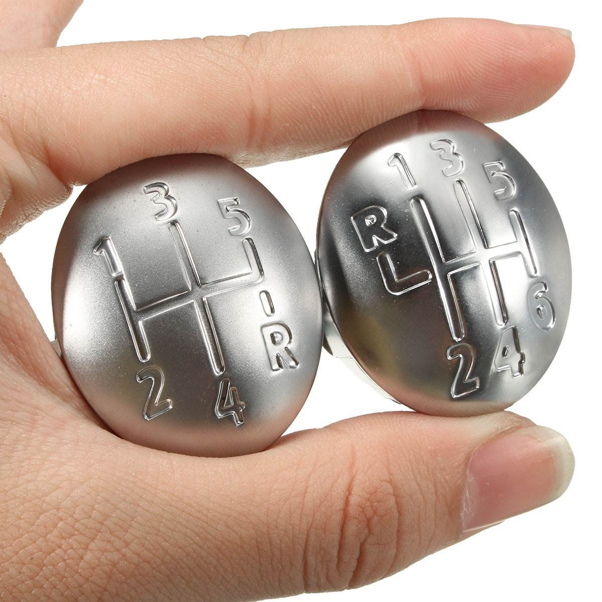 Funnytoday365 5/6 Speed Gear Shift Knob Cap Cover For Renault Clio Megane Scenic Twingo Chrome