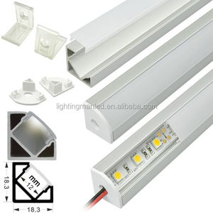 Aluminium extrusion profile housing corner mount for flexible LED strips or rigid LED light bars under 10-12mm wide.