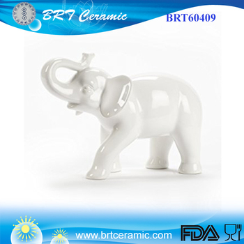 White Abbott Collection Large Ceramic Elephant Figurine