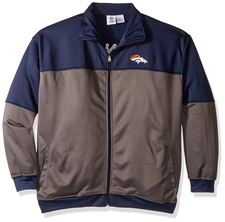 NFL Denver Broncos Unisex Poly fleece Track Jacket, CHARCOAL/Orange, 3X/Tall
