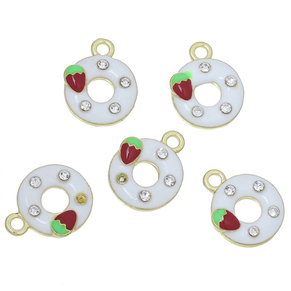 Charm Pendants Donuts Gold Plated White Strawberries Carved Clear Rhinestone Enamel 17mm x 14mm