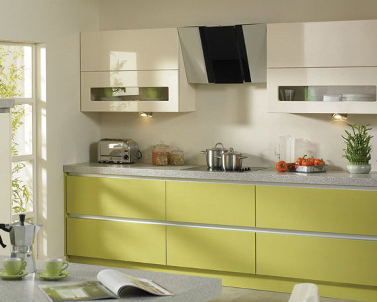 Yellow Shining Lacquer Mdf Kitchen Cabinet Model