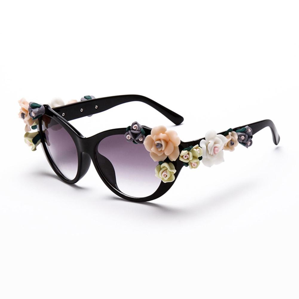 72c0fae720 Wholesale Plastic Frame Oval Sunglasses Flowers Resin Women Coating ...