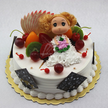 Artificial Birthday Cake Model With Doll For Shop Display