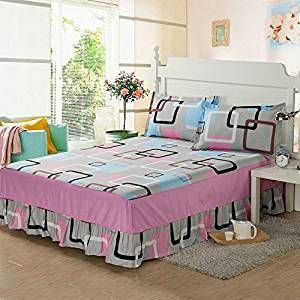 cotton bed skirt with pillowcases bed spread bedclothes for all bed size twin full queen king size for girl's room (Full size)