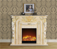 Frence Hand Painted Wooden Fireplace, Elegant Home Decorative Electric Fireplace Mantel Heater Insert