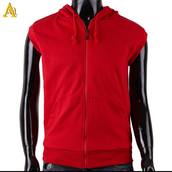 Red Sleeveless Hoodie Zip Up Mens Sleeveless Hoodie - Buy ...