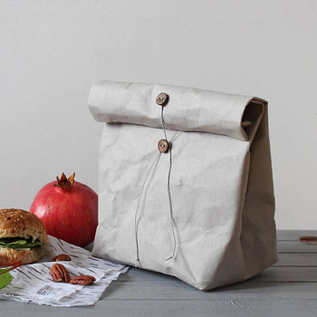 New products kraft fabric lunch carrying bag with string tie and buttons/Grey washable paper lunch bag china suppliers