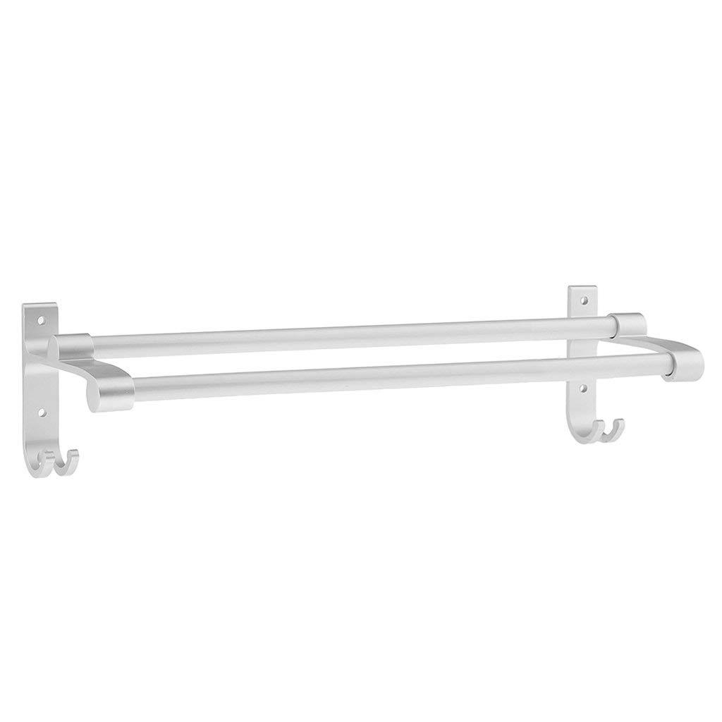 Jili Online Heavy Duty Wall Mounted Double Towel Rail Rack Holder Bar Organizer Shelf With Hanger Hooks for Shower Bathroom Kitchen 12'' 16'' 20'' 24'' - Silver, 40cm