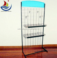 Freestanding Metal Wire Hanging Stand with Hook & Basket / Retail Store Display Fixtures