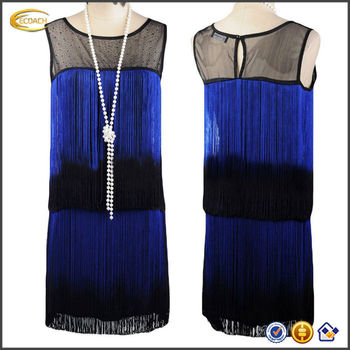 OEM wholesale 2015 Women 1920s Sheer Beaded Ombre Fringe Origami Double Side Flapper Dress finery dresses