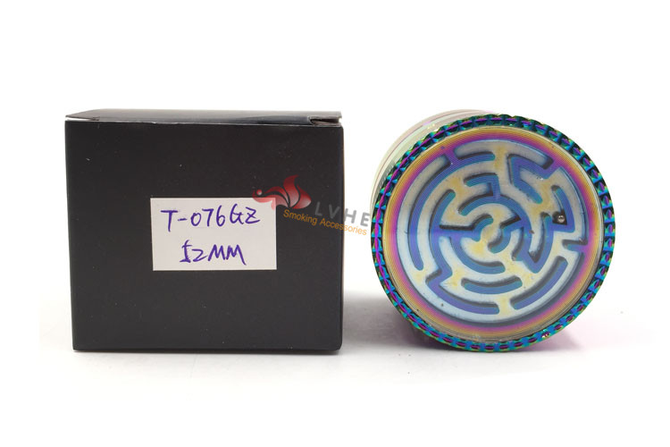 T076GZ LVHE Chromium Crusher 52/63mm 4 Piece Zinc Tobacco Rainbow Color Herb Grinder