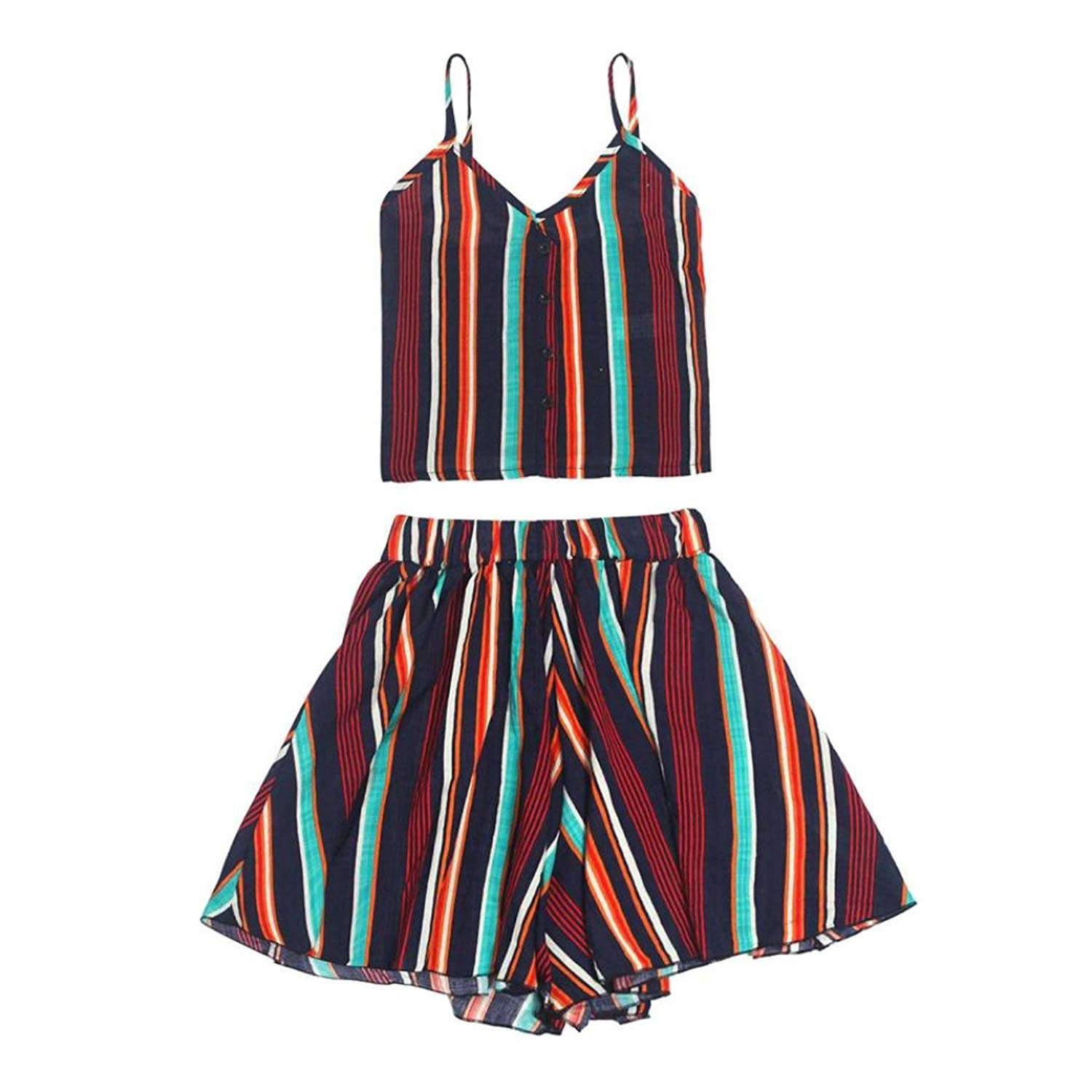 3b902b9559fd Get Quotations · Clearance Womens Colorful Striped Button Cami Top+Hot Short  Pants Two Pieces Outfit Set