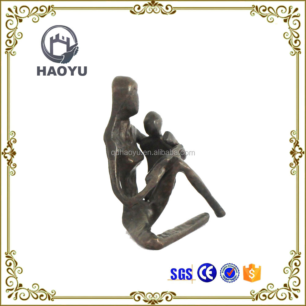Metal art and crafts bronze mother and baby readingstatues