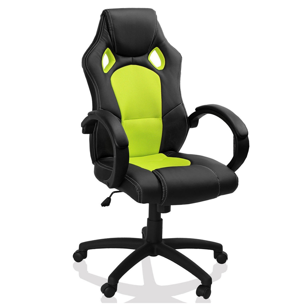 Cheap PU and Mesh Gaming Swivel Chair -Silver Stone-BL3301