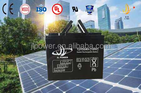 2015 NEW! Excellent Safety Performance solar battery maintenance free rechargeable battery 12V55AH solar battery for solar panel