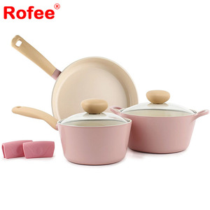 Retro 5-Piece Hot Pink Ceramic Non-Stick Cookware Set