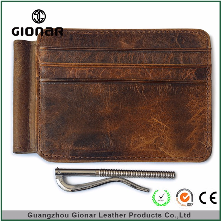 OEM Hot Selling Vintage PU Leather Men Wallet with Money Clip
