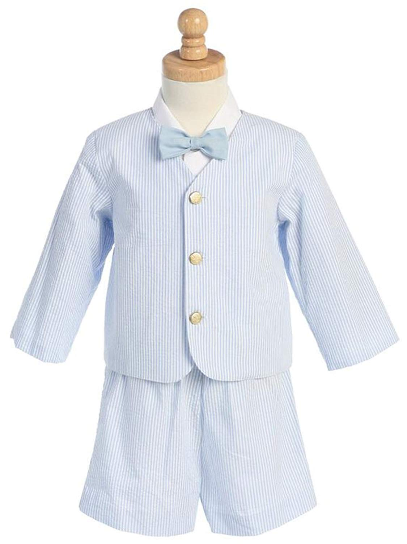 Shirt Bowtie- # 9-G8191KH-2T-Eton Seersucker Suit- Khaki Stripes w//Jacket Shorts Made in USA