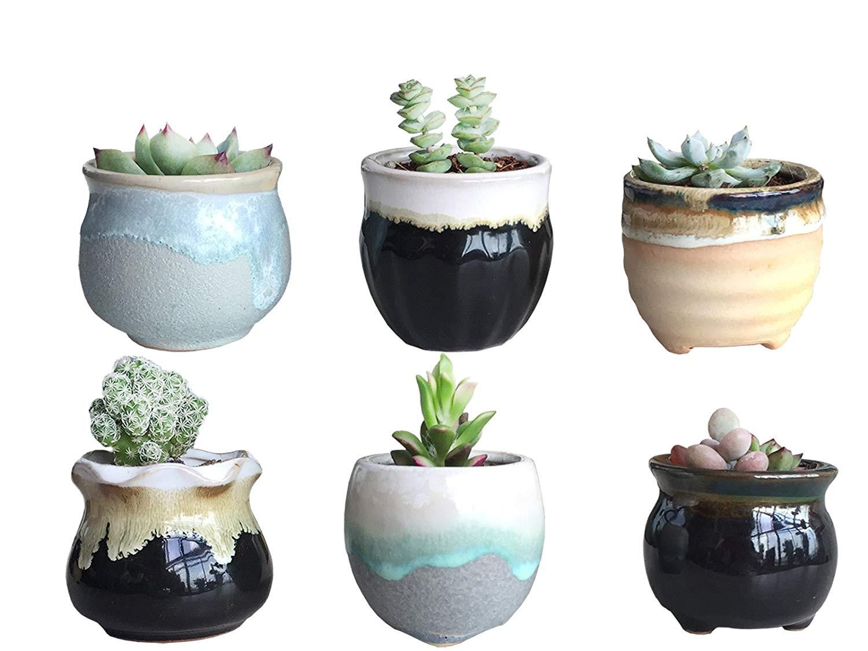 Get Quotations 6 Flower Pots Decorations Handmade Color Is Beautiful 2 5 Inch Ceramic Flowing Glaze Set Succulent Plant
