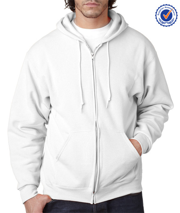 High quality hot sale OEM ribbed cuff cotton wholesale plain white hoodies