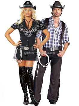 women sexy cowboy cosutme mens wild west western fancy dress halloween costume couple qawc 2334