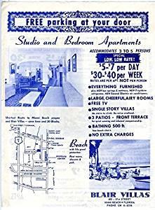 Blair Villas Adverting Flyer 1960's 81st Street Miami Beach Florida