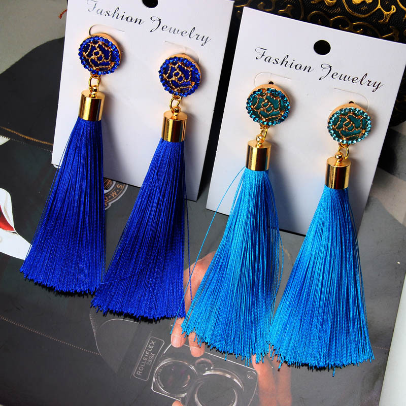 Wholesale Ethiopian Girls Custom Fashion Elegant Rose <strong>Flower</strong> Tassel <strong>earrings</strong> New Designs <strong>Gold</strong> Jhumka <strong>Earring</strong> For Women