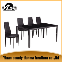 cheap price power coated steel and tempered glass dining table for sale