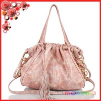 Genuine leather snake Bright surface Fashion ladies' Drawstring Hobo Bag with shoulder strap and tassel