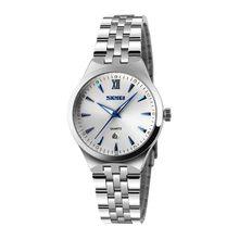 SKMEI 9071, мужские и Женские часы, модные парные часы, светящаяся Дата, календарь, нержавеющая сталь, кварцевые наручные часы для влюбленных, Жен...(Китай)