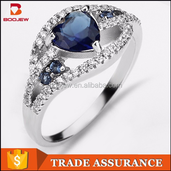 meaningful love heart blue main stone silver engagement ring with micro pave setting white cz