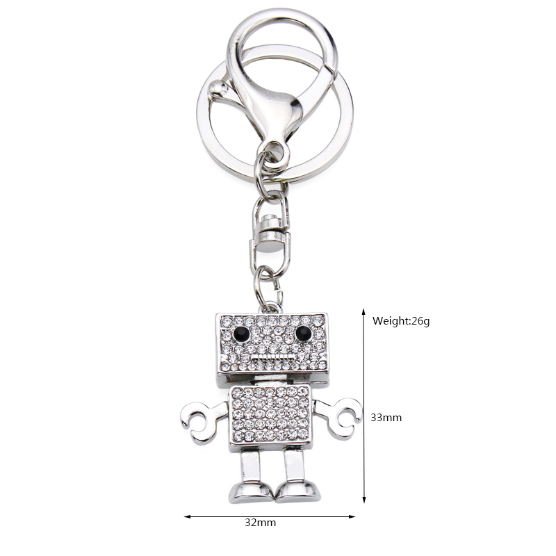 Wholesale factory direct custom letter cute mini white rhinestone robot metal zinc alloy keychain