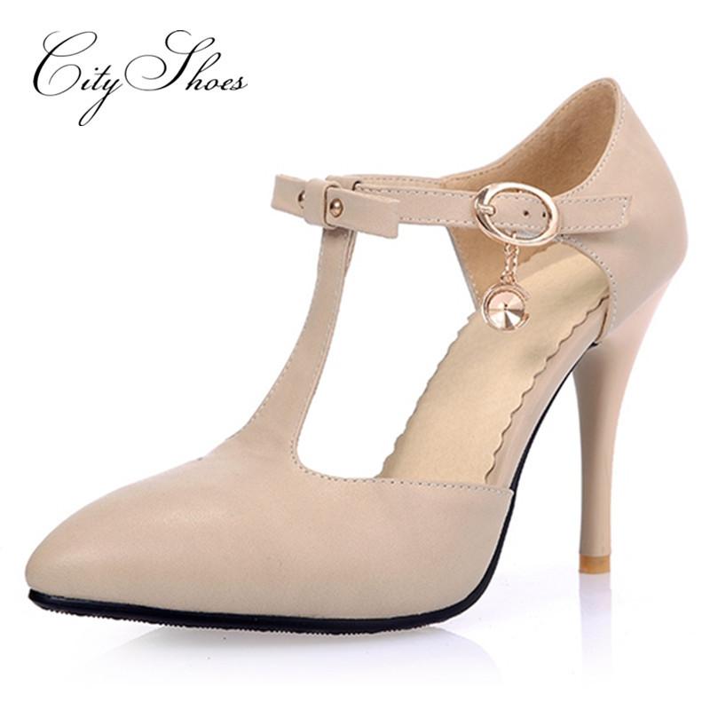 Kingwhisht Buckle Strap Sandals High Heels 16CM White Red Black Shoes Large Size 33-48