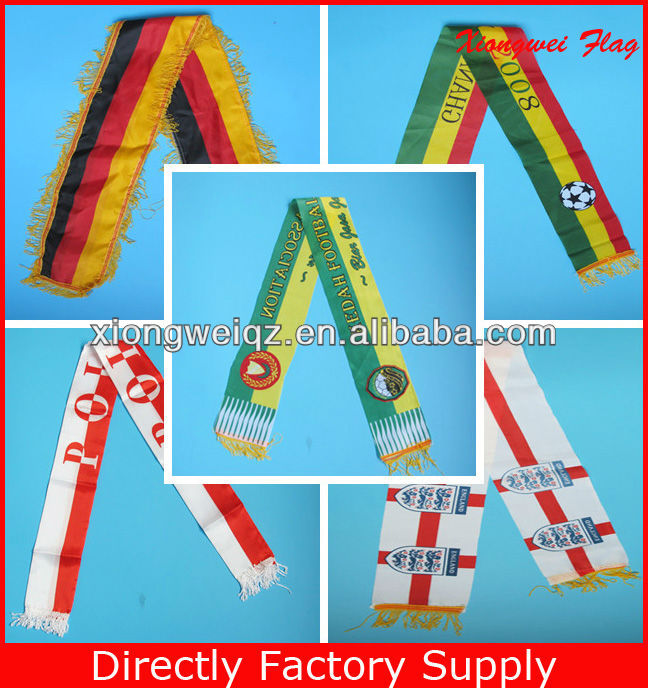custom satin scarf factory supply football fan scarf