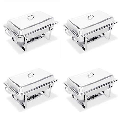 FlameIce Chafing Dish 4 Pack Stainless Steel Chafer Full Size 8 Quart Chafing Dishes For Buffets Kitchen Party Wedding Dining (4 Packs)